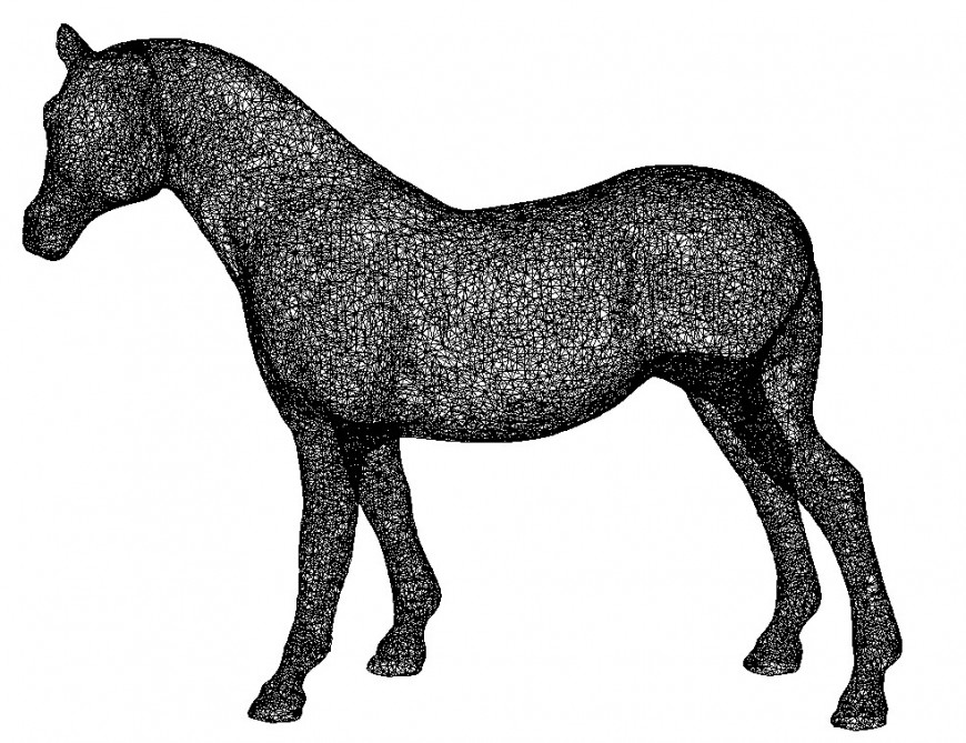 3d Horse elevation drawing cad file