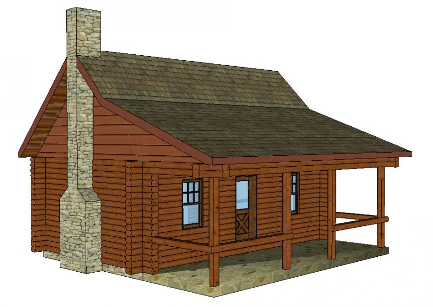3D house elevation dwg file