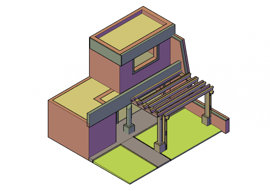 3D House Front side Elevation Detail