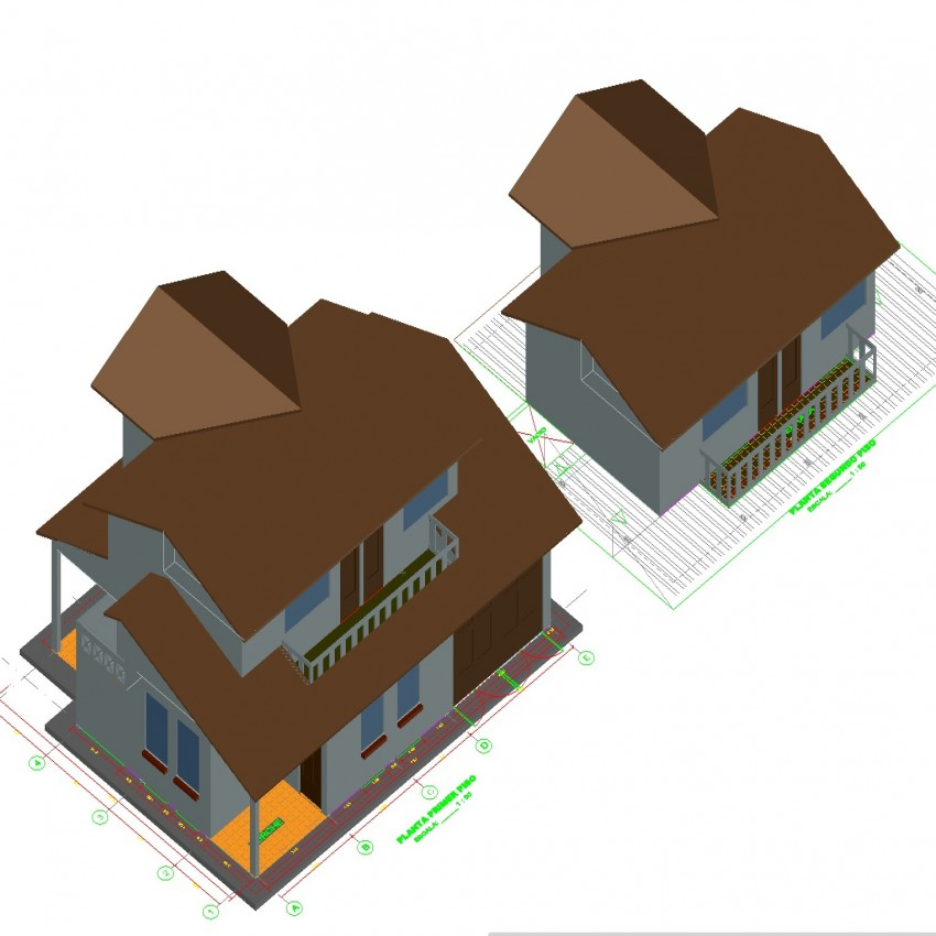 3D house plan detail dwg file.