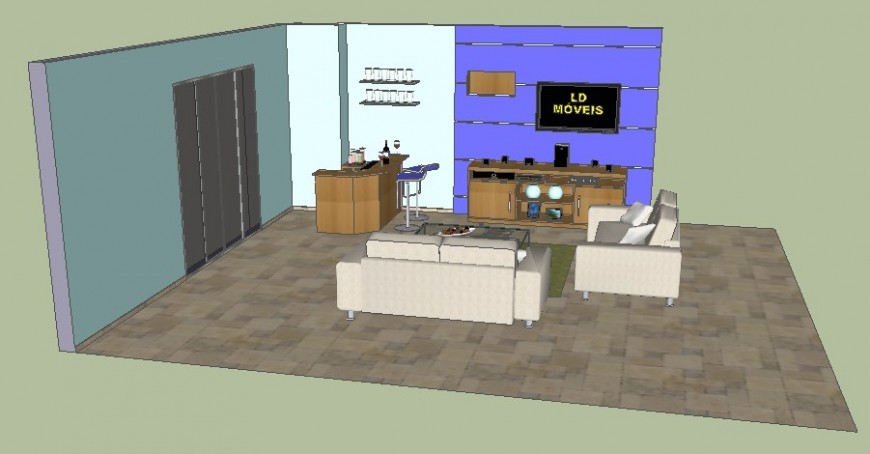 3d interior of drawing room drawing in sketch-up software