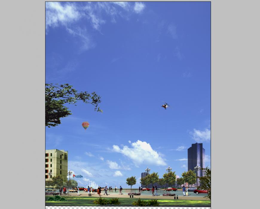 3d model elevation of city area detail Photo-shop file