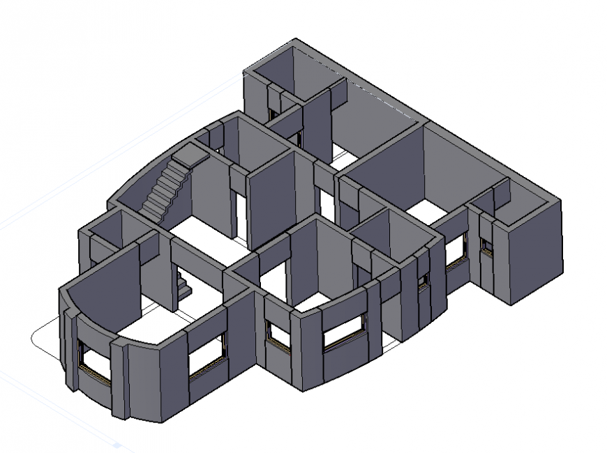 3d model layout structure of housing building autocad file