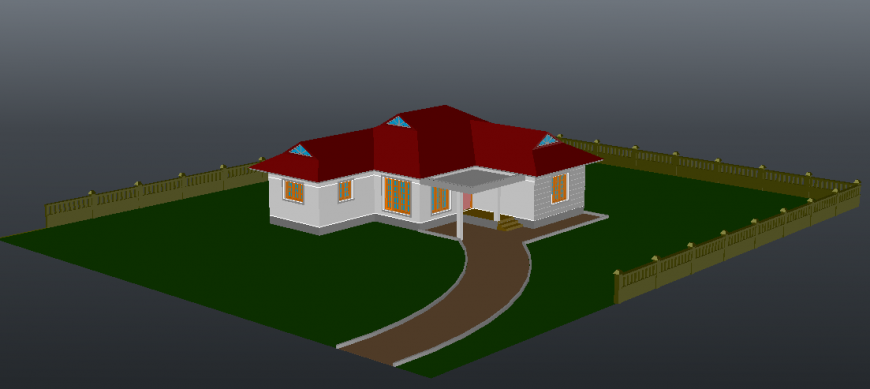 3d model of a pent house detail dwg file
