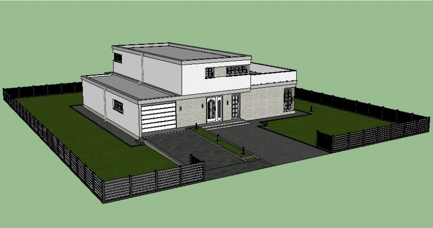 3d model of bungalow drawing in sketch-up