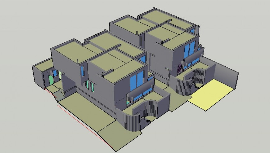 3d model of bungalow structure detail layout file in autocad format