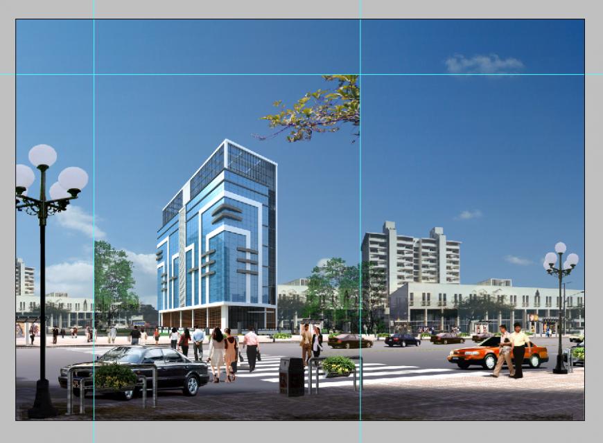 3d model of Business building detail elevation Photoshop file