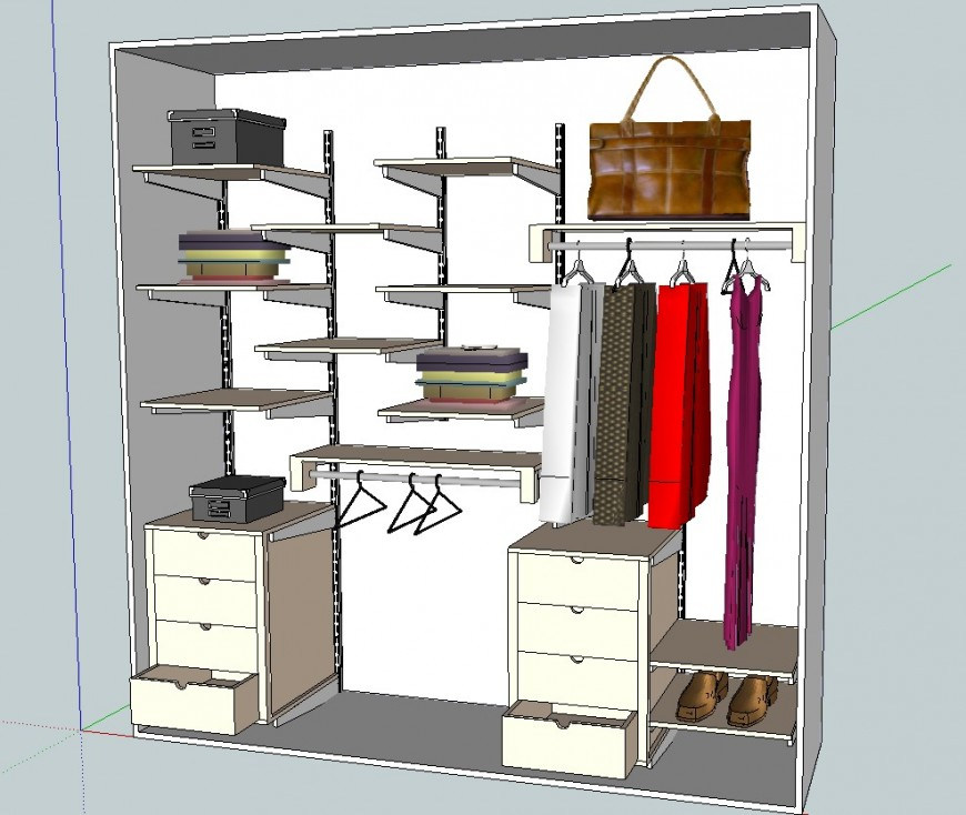 3d Model of closet wardrobe design slp file