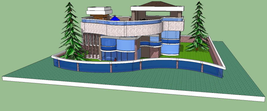 3d model of cottage house in skp file.