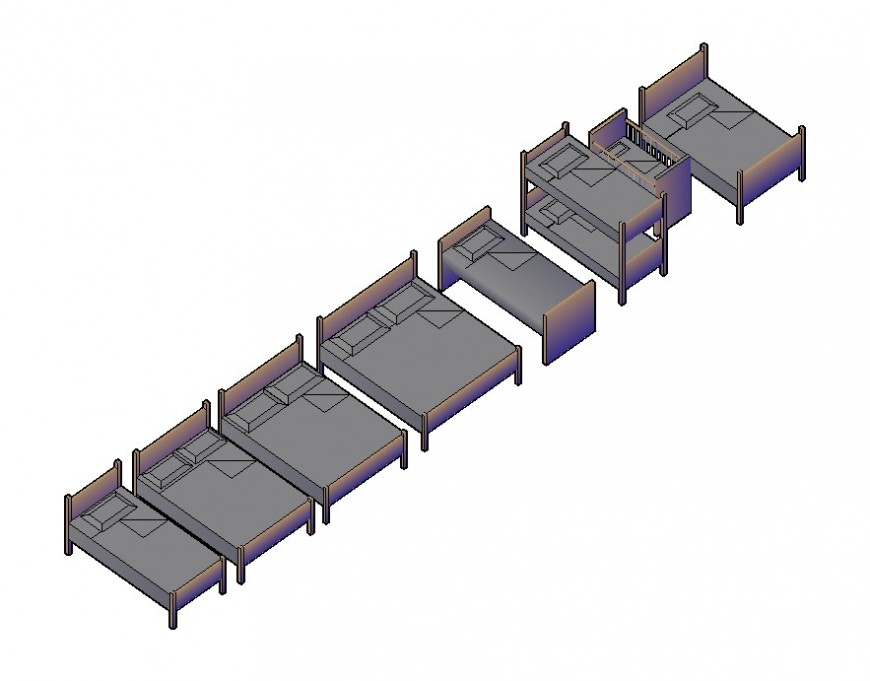 3d model of different types of bed CAD furniture block layout autocad file