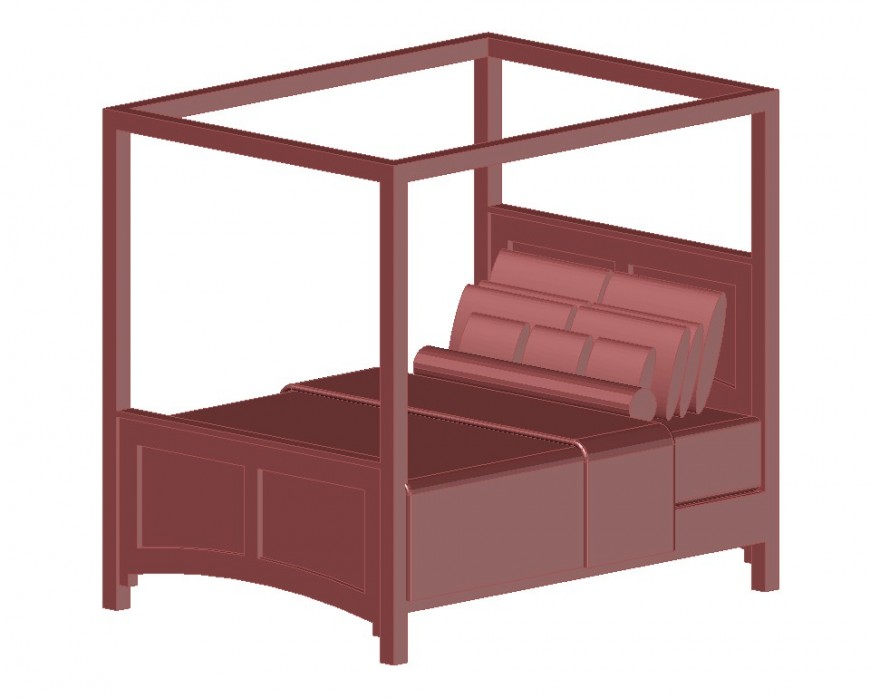 3d model of double bed Furniture block layout file in dwg format