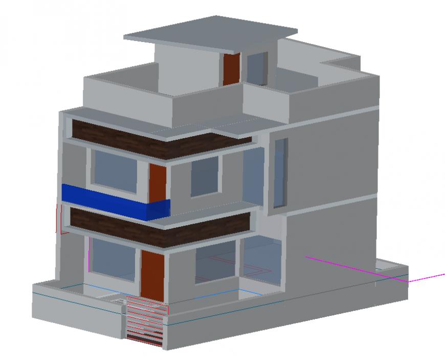 3d model of housing building detail elevation layout autocad file