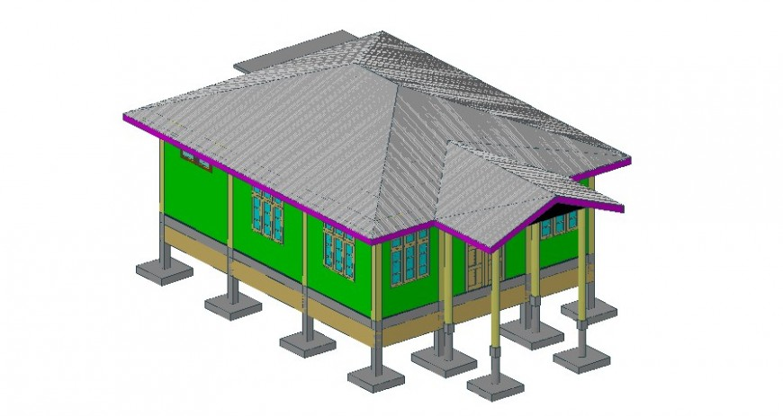 3d model of housing building drawings details autocad software file