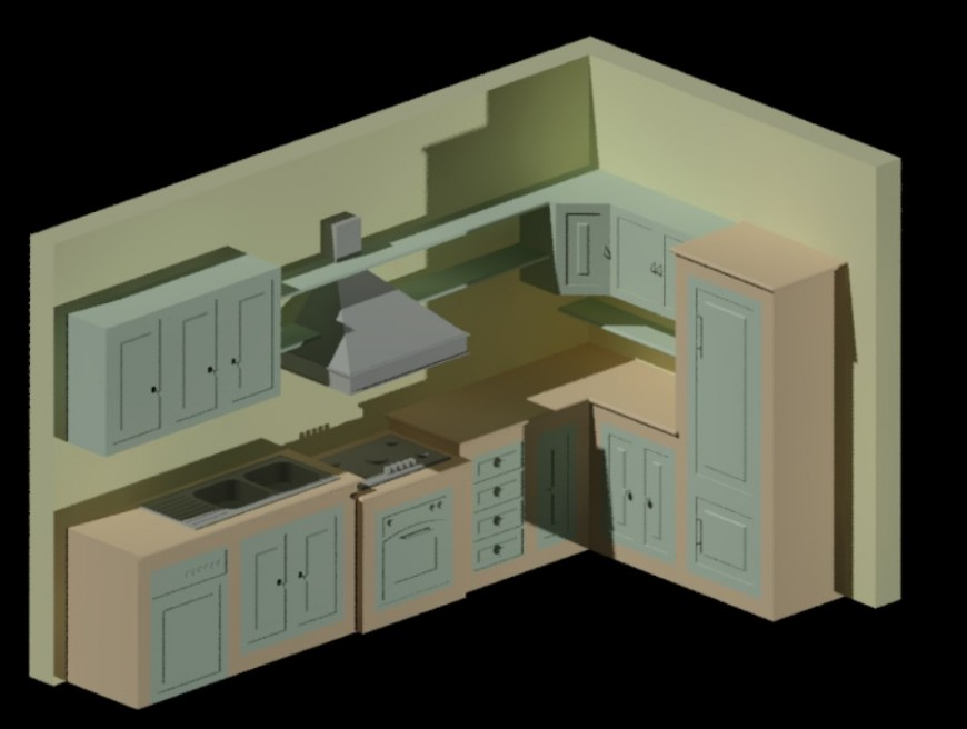 3d model of kitchen design dwg file