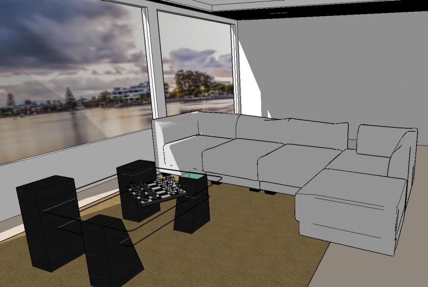 3d model of living room layout sketch-up file