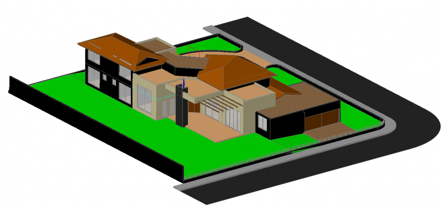 3d model of modern concept bungalow in dwg AutoCAD file.