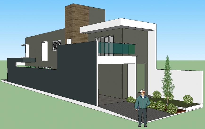 3d model of modern concept house in skp Sketch Up file.