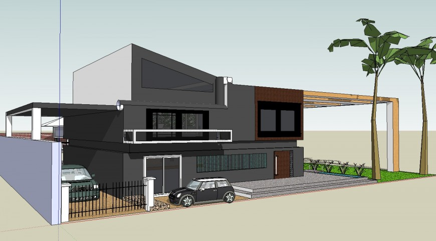3d model of modern residence house project