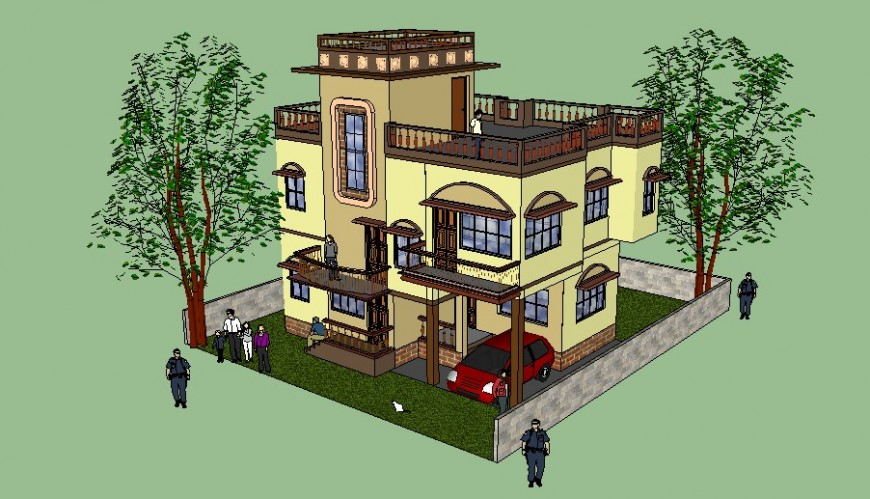 3d model of residential apartment sketch-up file