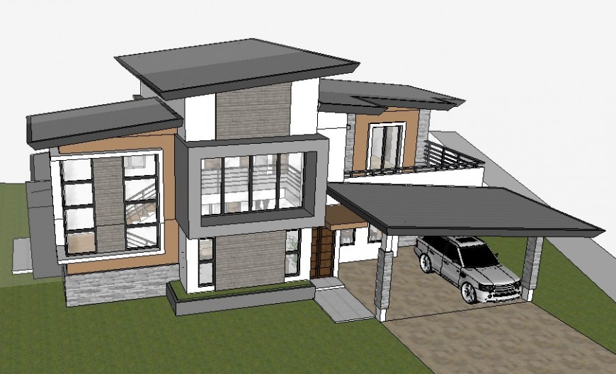 3d model of residential bungalow drawing sketch-up file
