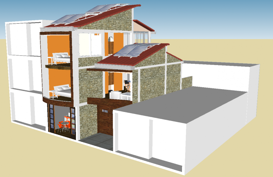 3d model of the bungalow with interior in skp Sketch Up file.