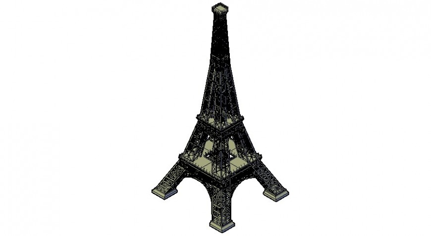 3d model of the Eiffel tower detail in dwg AutoCAD file.
