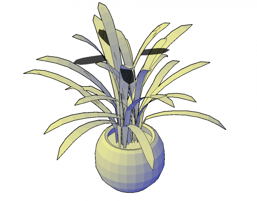 3d model of the plant pot in dwg AutoCAD file.