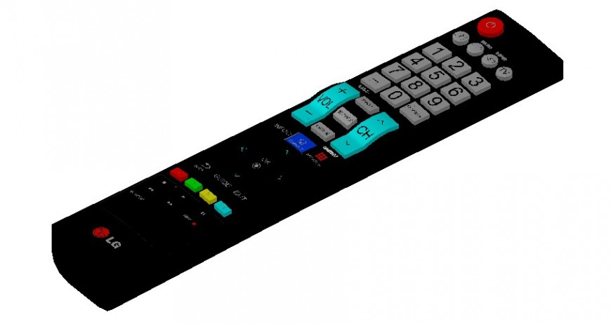 3d model of TV remote detail layout file in autocad format