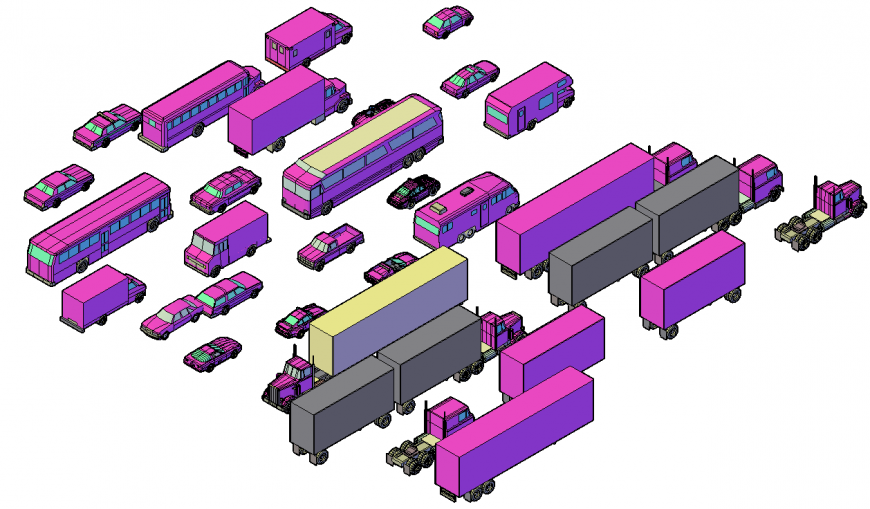 3d model of vehicle in dwg AutoCAD file.
