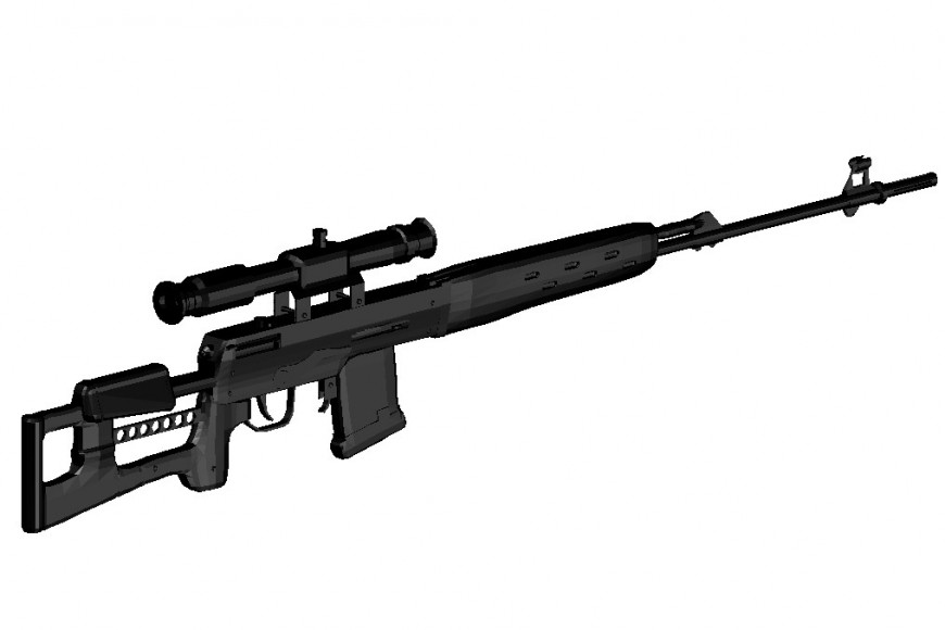3d model Sniper rifle cad file
