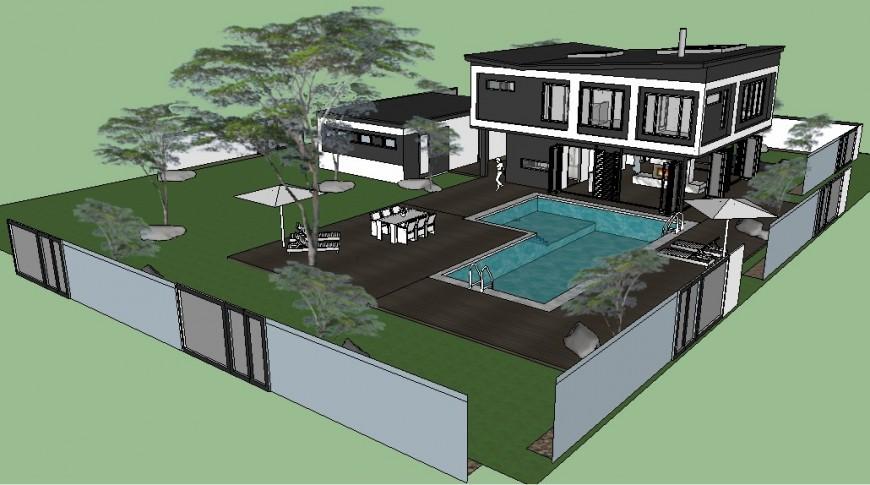 3d modern villa design ketchup file