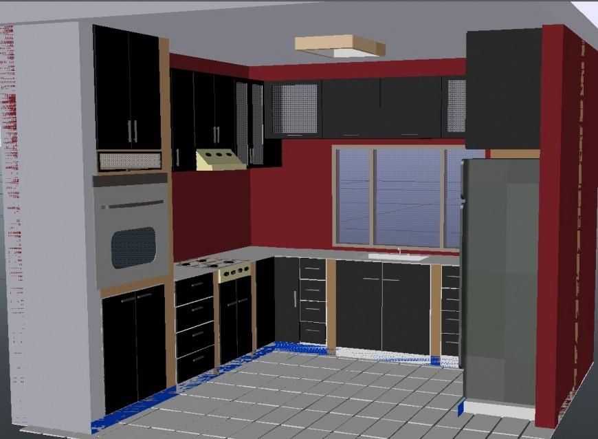 3d modular kitchen design autocad file