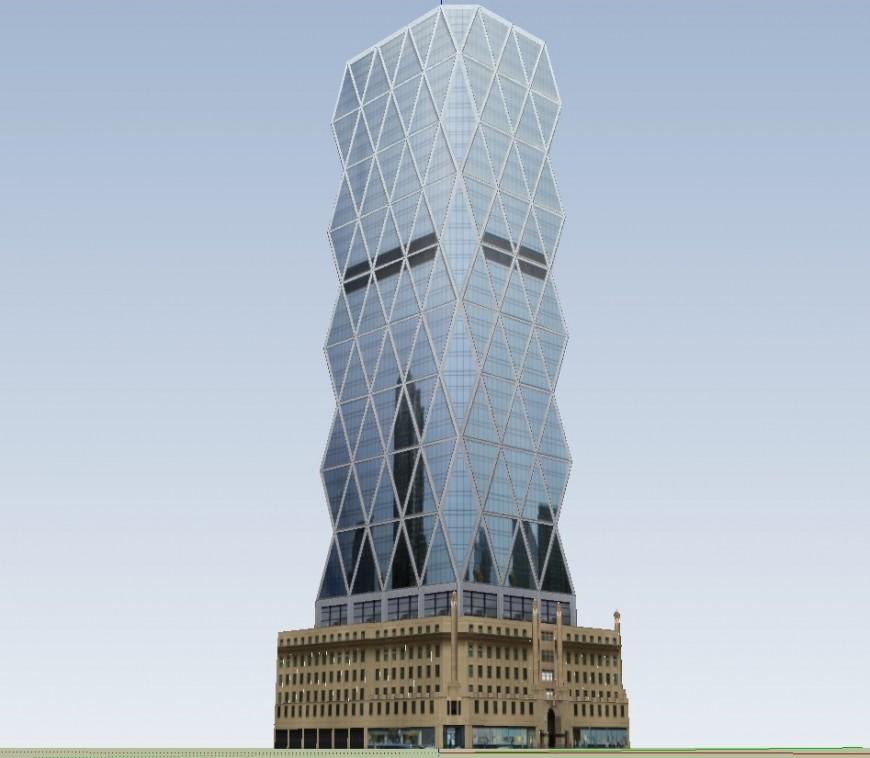 3d hearst tower building design skp file