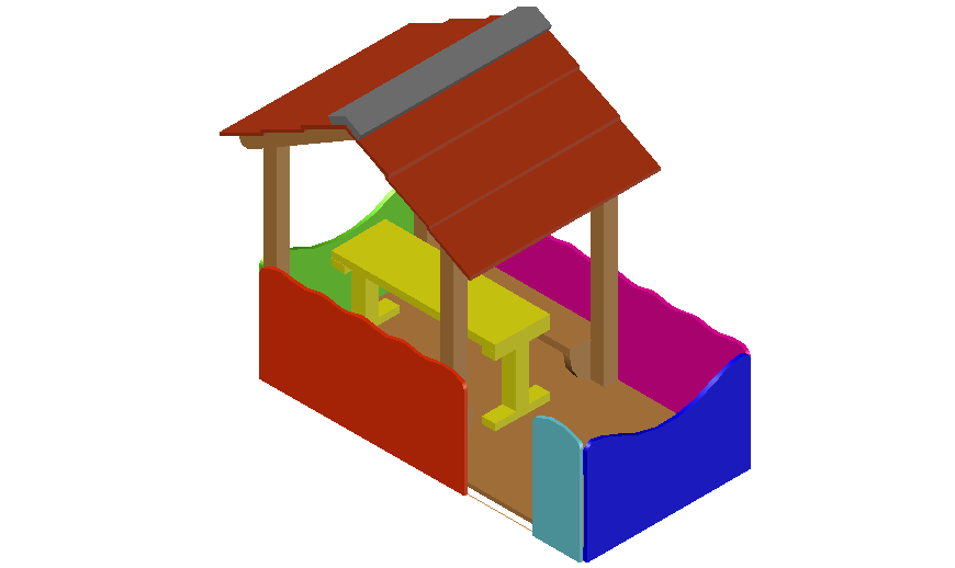 3d of cottage design dwg file