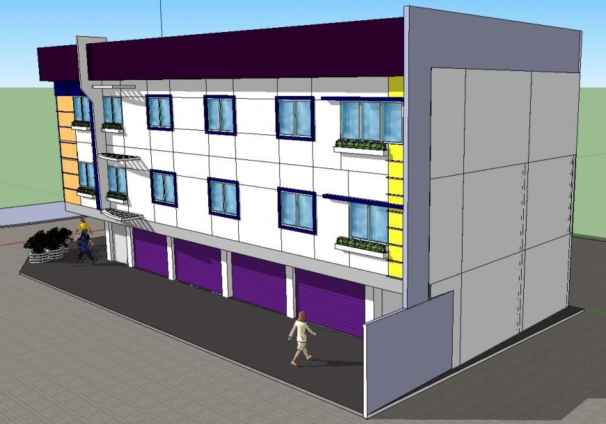 3d office building design sketch up file