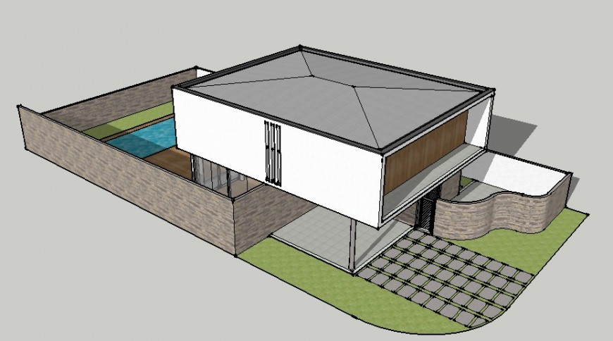 3d one family residential house model cad drawing details skp file