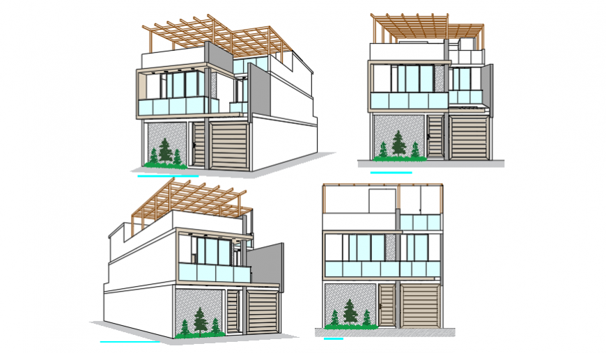 3D perspective view design drawing of bungalow design