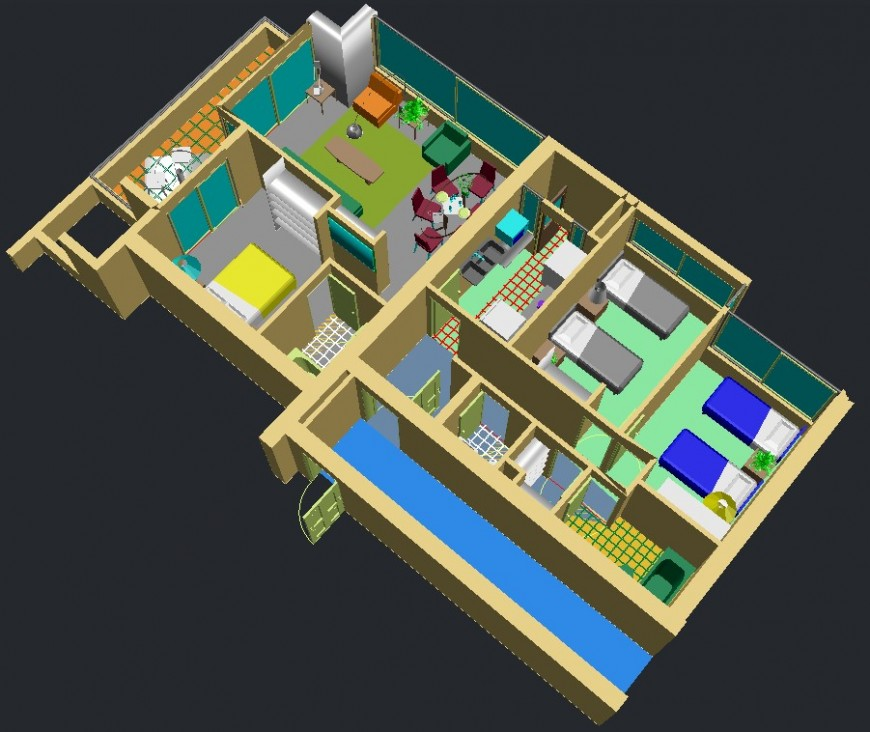 3d residence house project autocad file