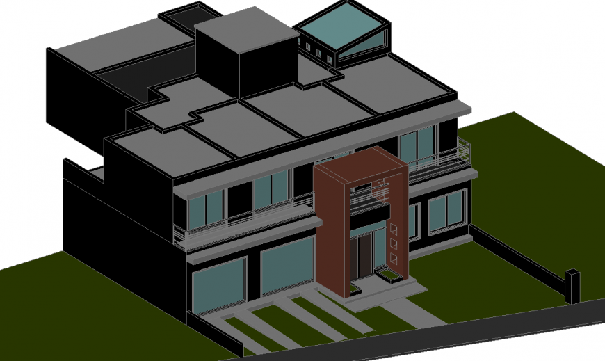 3D Residential Duplex House Design
