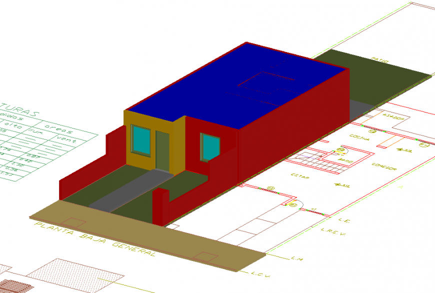 3D Top & front Side House Detail in DWG File