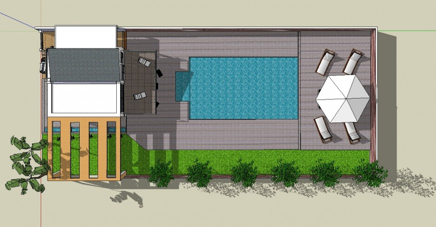 3d top view of modern house project