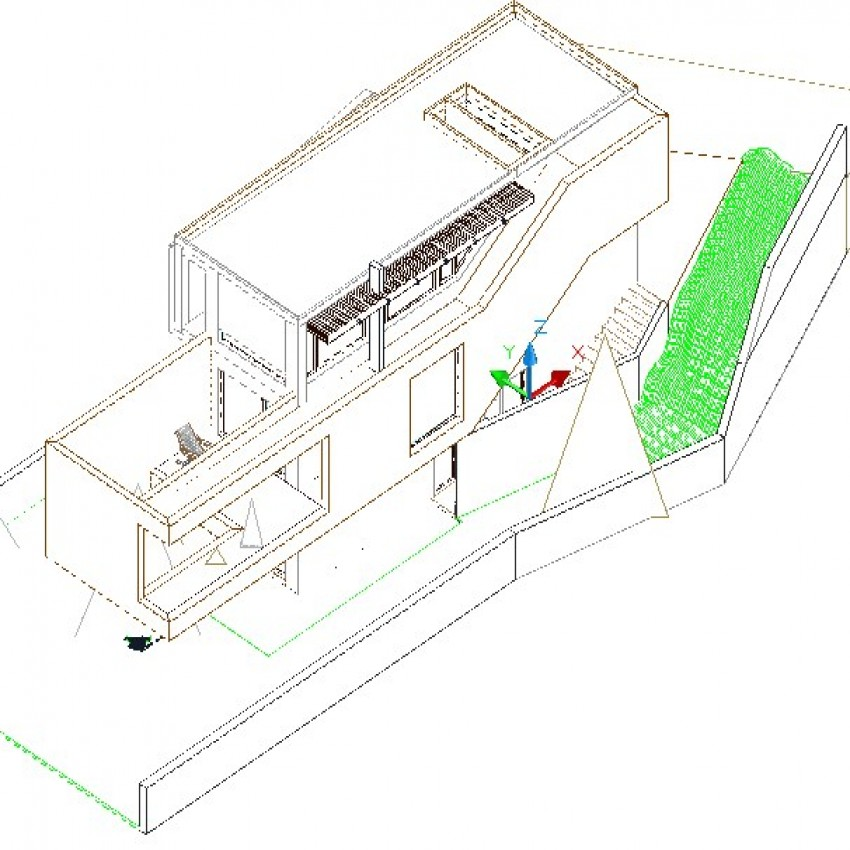 3d view drawing of bungalow.