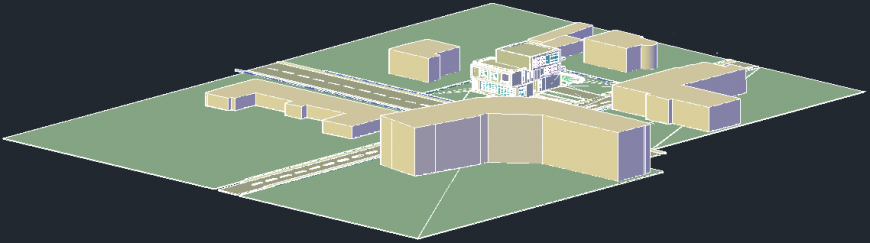 3D view of bungalows in AutoCAD file