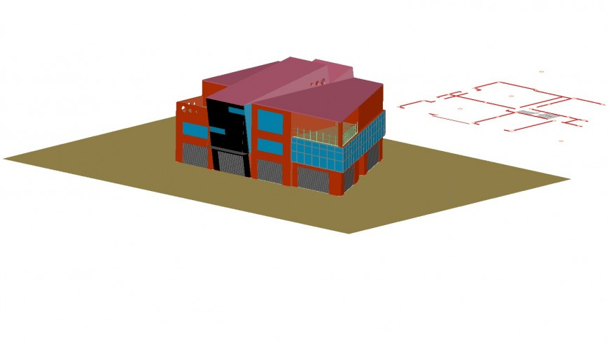 3d view of commercial building in auto cad file