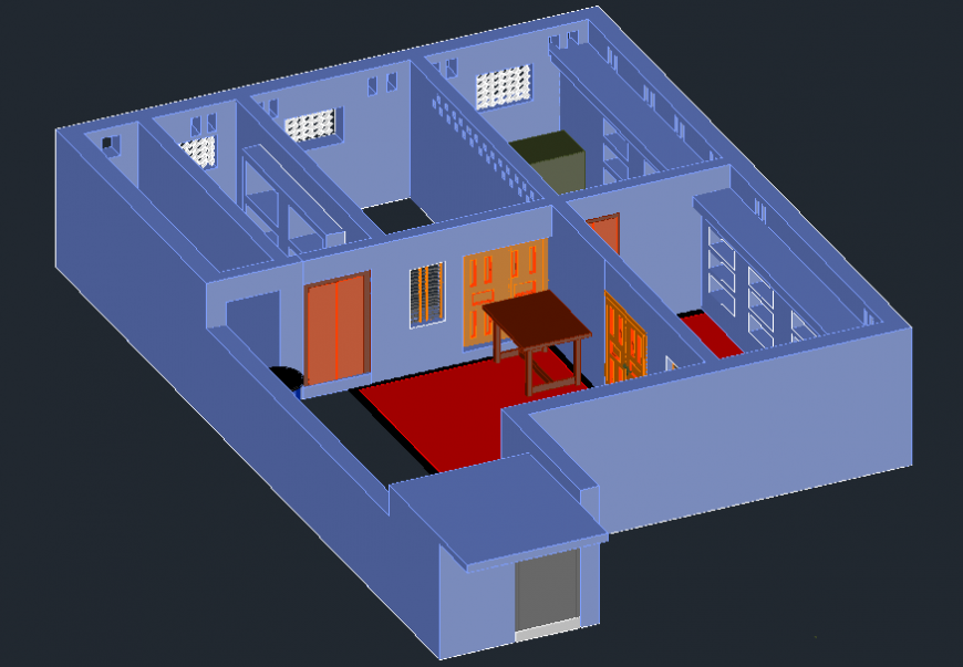 3d view of housing area in AutoCAD file
