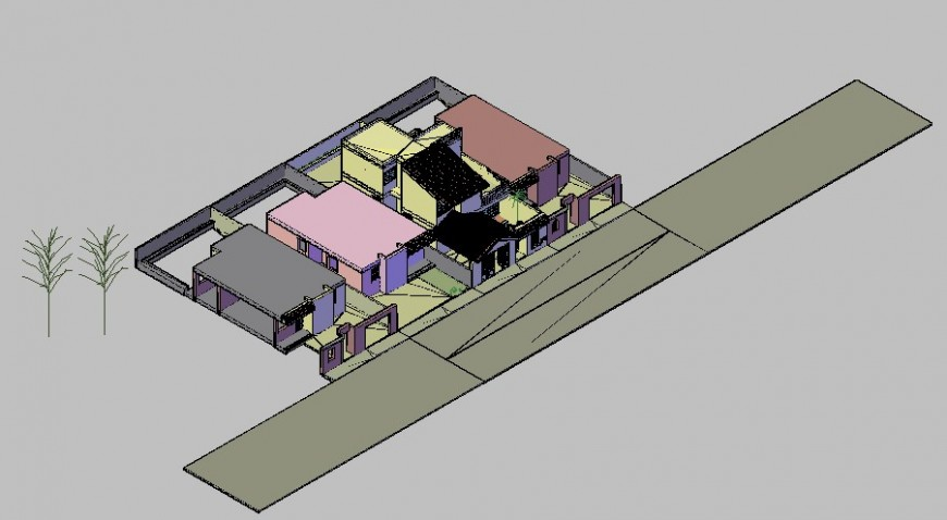 3d view of living area in auto cad