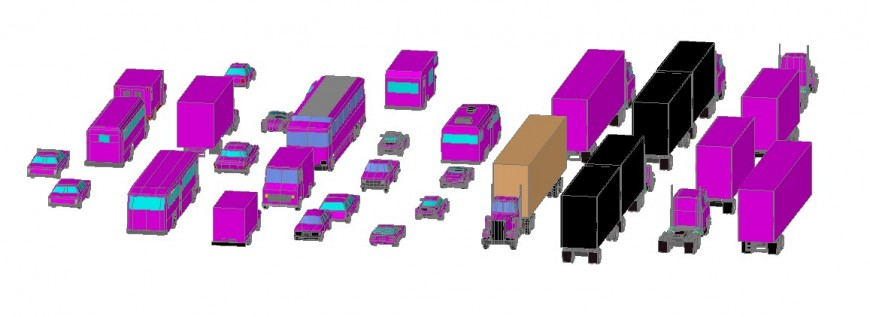 3d view of vehicle different block in AutoCAD