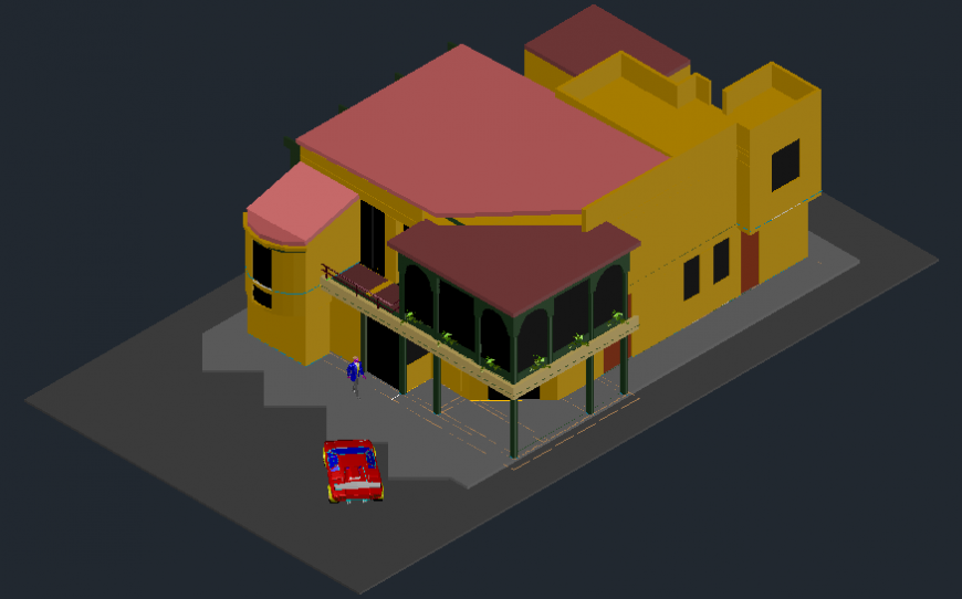 3d view of villa in AutoCAD file
