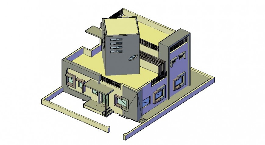 3D view of villa in AutoCAD software