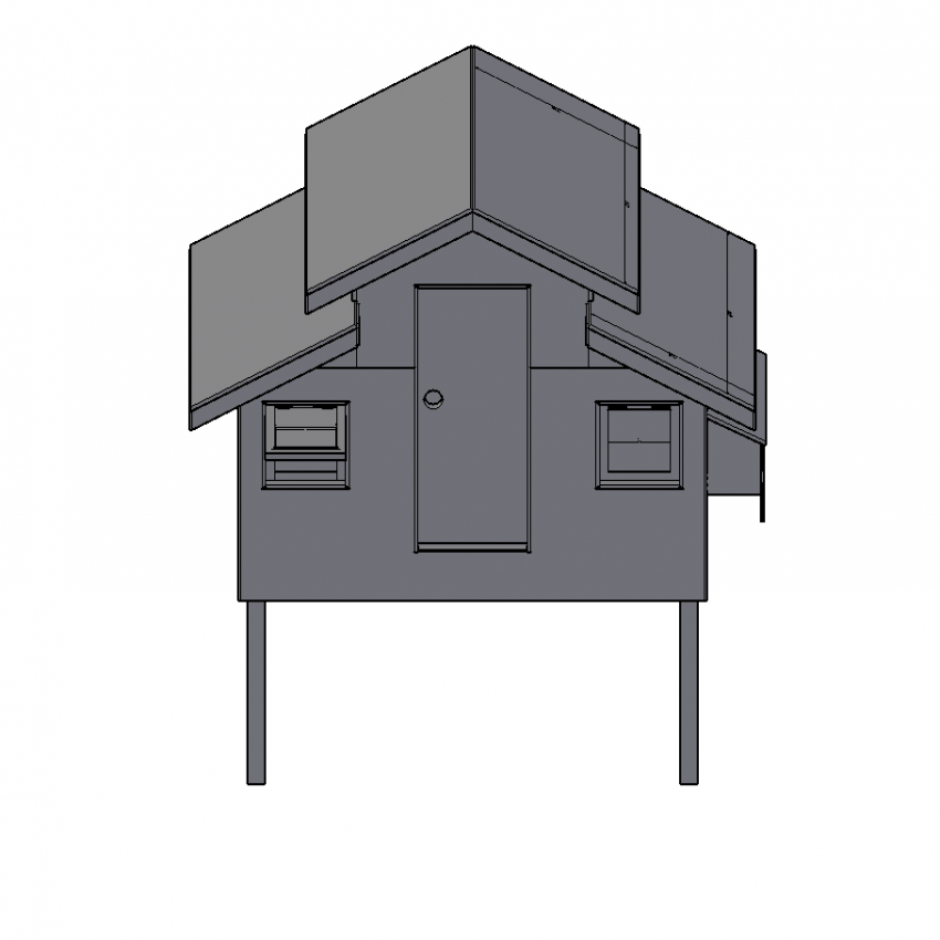3d Wooden house for chicken coop area view dwg file